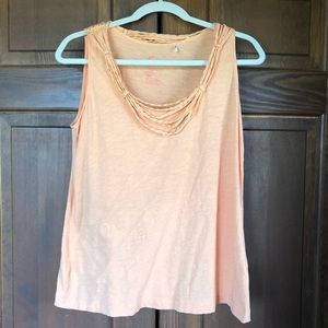 TOMMY BAHAMA COTTON GATHERED ROPE ORANGE TANK TOP